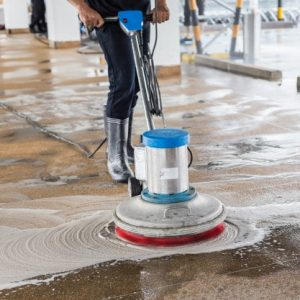 post construction cleaning - washing walkway